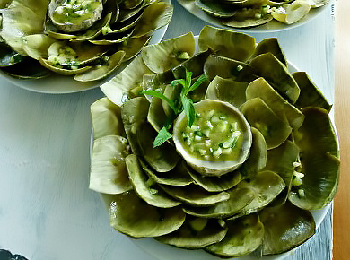 "WATCH MY VIDEO ON HOW TO MAKE THESE BEAUTIFUL ARTICHOKES! THEN GO TO ""RECIPES"" AND PRESS ""VEGETABLES"" FOR WRITTEN RECIPE!"