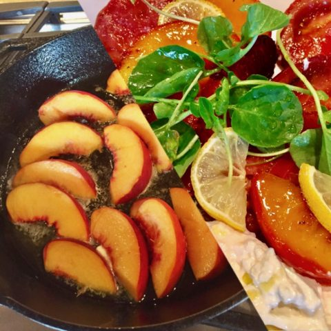 SALAD WEEK, END OF SUMMER  SALADS, TODAY'S PICK, GRILLED PEACHES, WATERCRESS WITH BURRATA CHEESE SALAD!